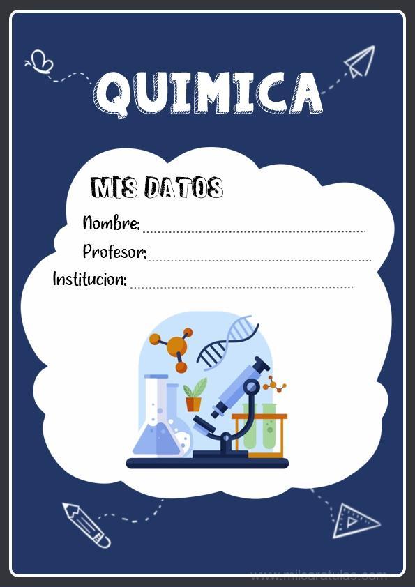 caratulas para cuadernos de quimica