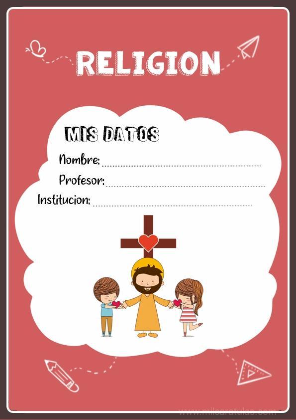 caratulas para cuadernos de religión