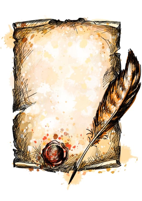 pergamino con pluma