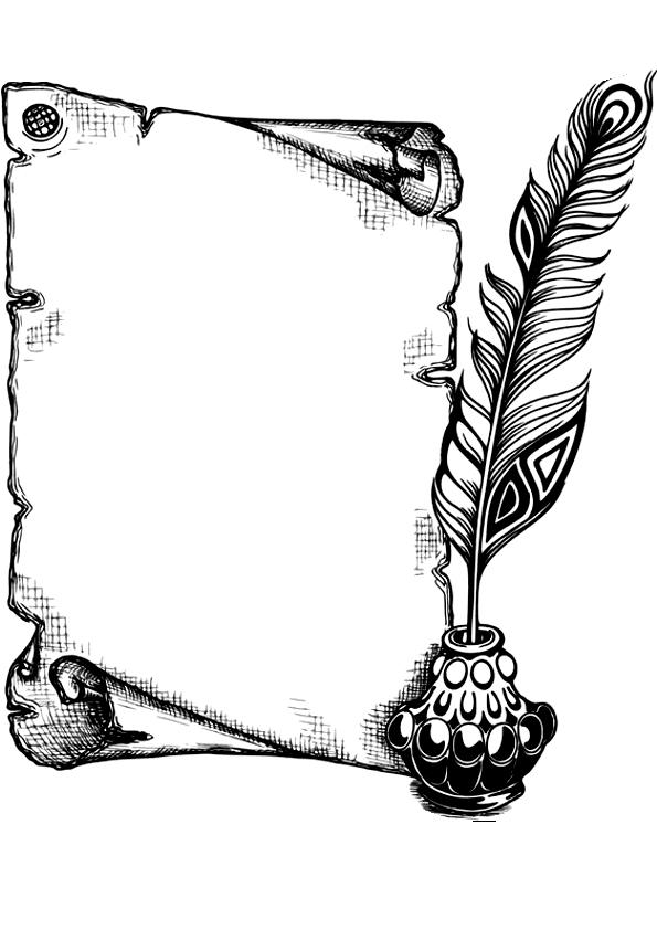pergamino a blanco y negro con pluma