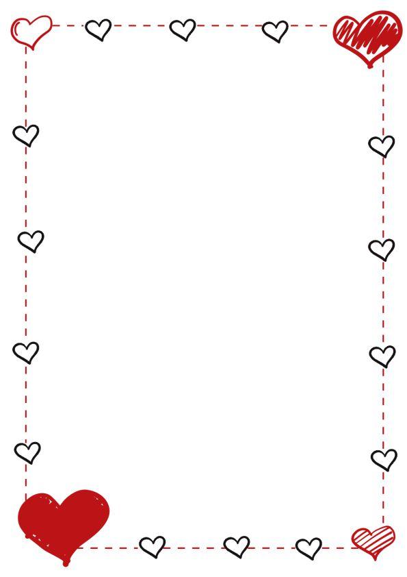 margenes para cuadernos con corazones