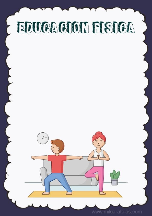 caratula para cuaderno de educacion fisica