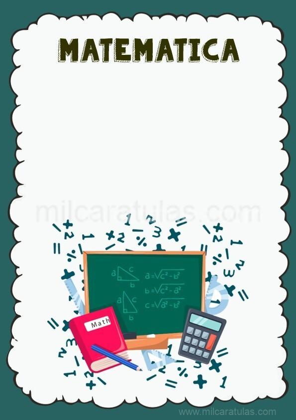 caratula para cuaderno de matematica