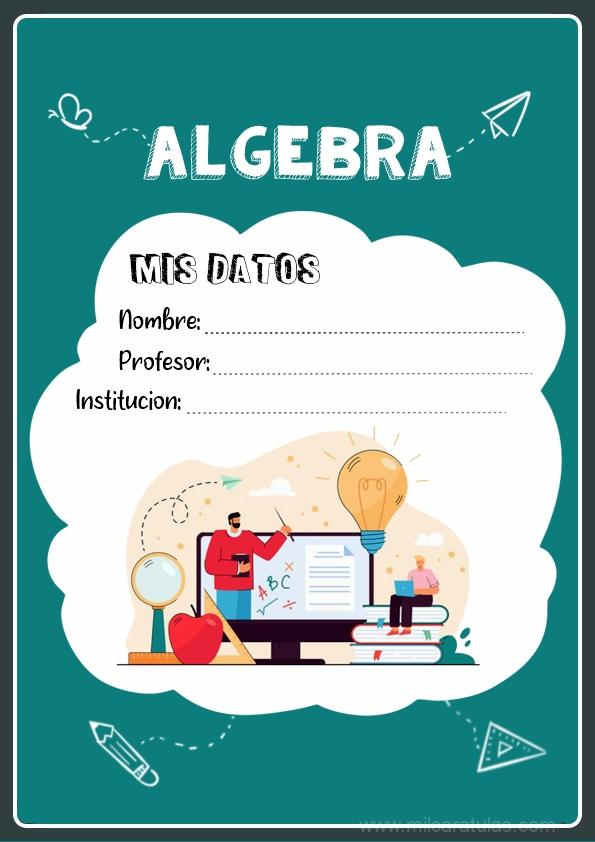 caratulas para cuadernos de algebra