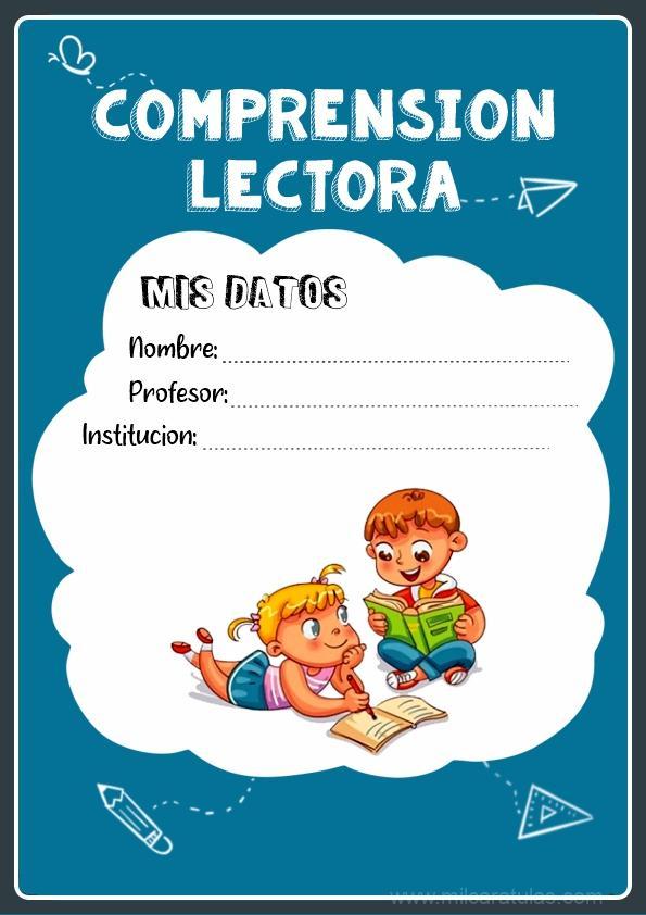 caratulas para cuadernos de comprension lectora