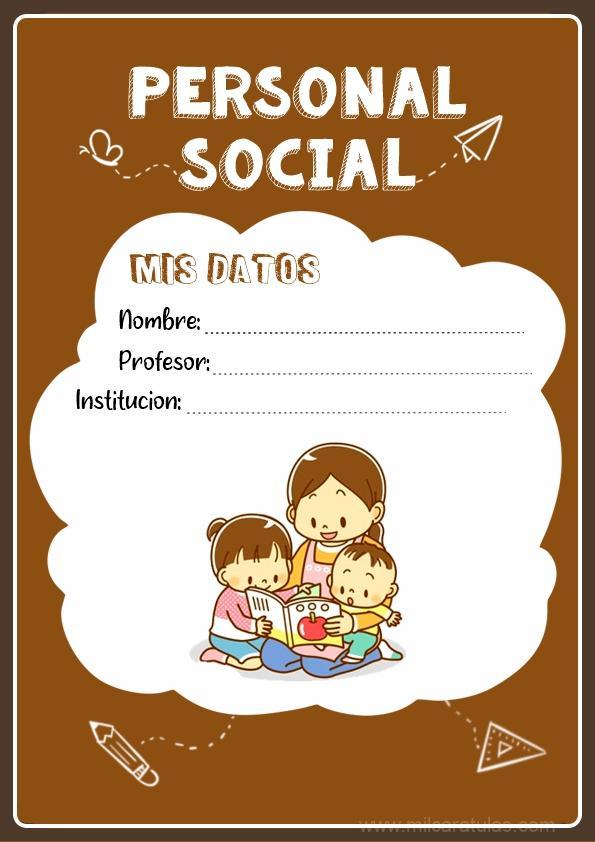 Caratulas para cuaderno de Personal Social