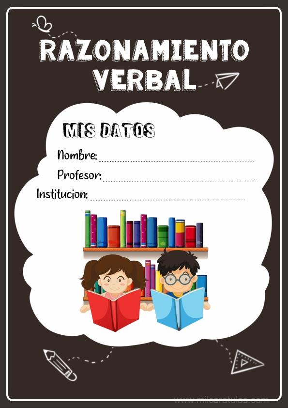 caratulas para cuadernos de razonamiento verbal