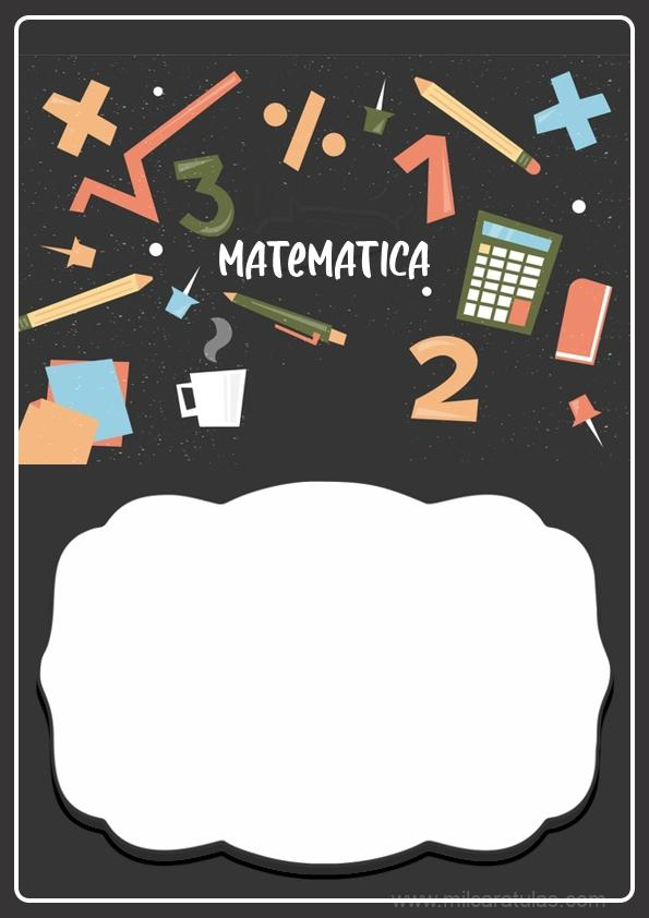 caratula para cuadernos de matemática