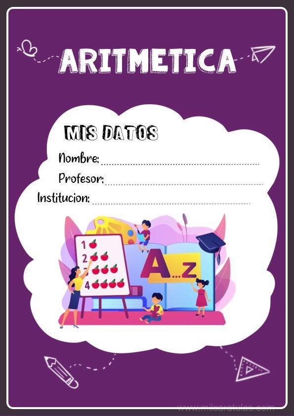 caratula para cuadernos de aritmetica