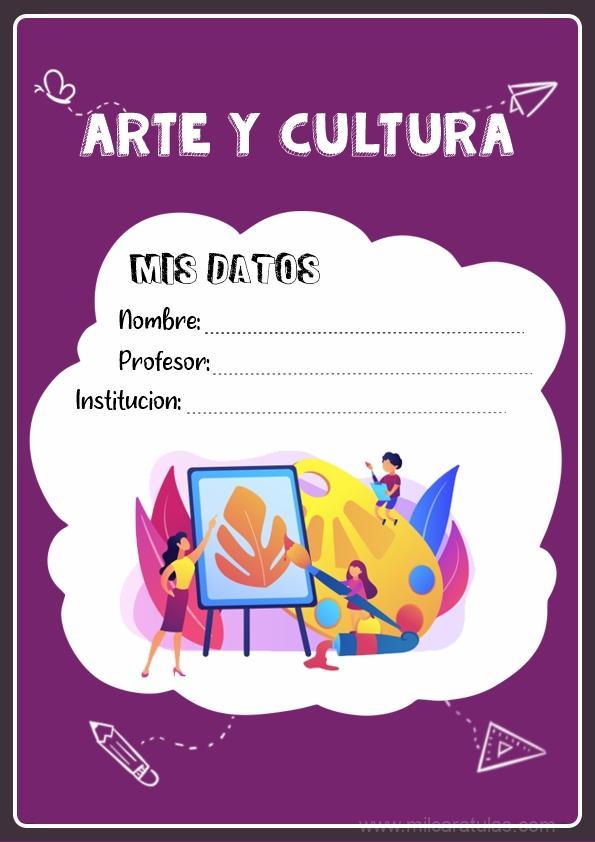 caratula para cuadernos de arte y cultura