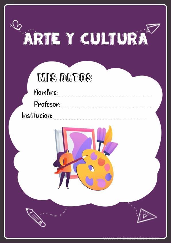 caratula para cuadernos de arte