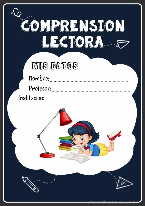 caratulas para cuadernos de comprensión lectora