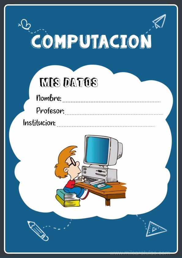 caratula para cuadernos de computación