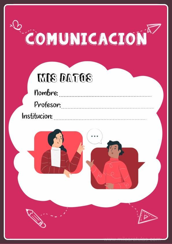 caratula para cuadernos de comunicación