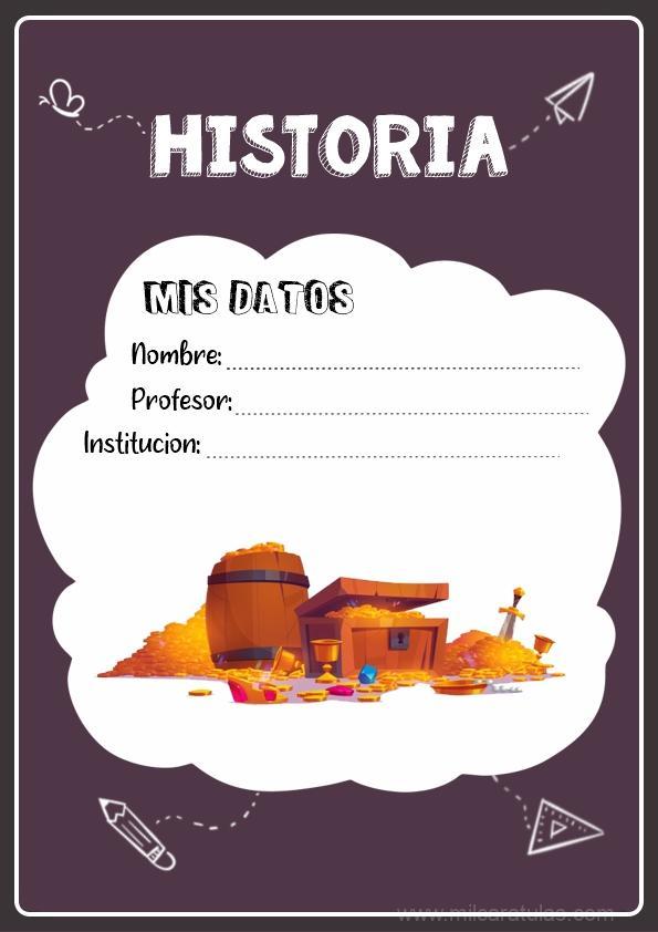 caratula para cuadernos de historia