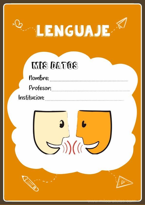 caratula para cuadernos de lenguaje