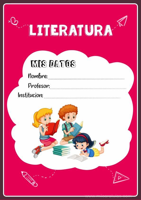caratula para cuadernos de literatura