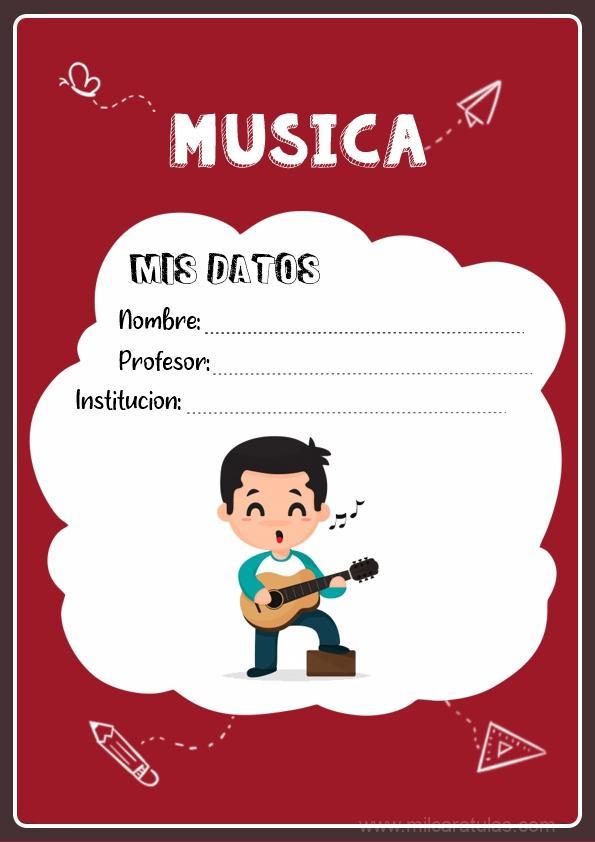 caratula para cuadernos de música