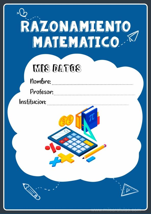 caratulas para cuadernos de razonamiento matematico