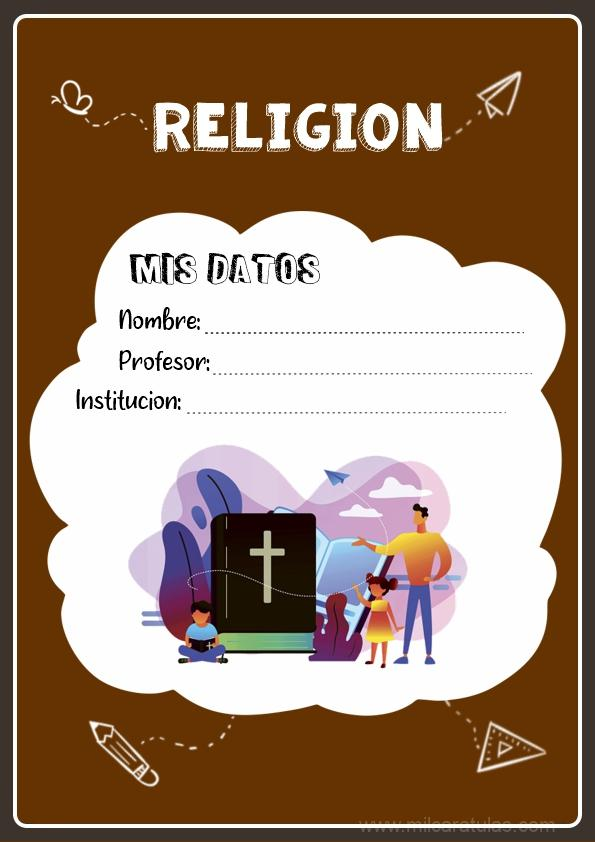 caratula para cuadernos de religión