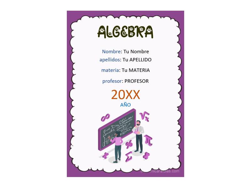Caratula y Portada de Algebra en Word 1