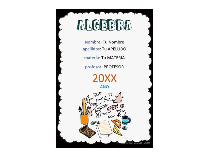 Caratula y Portada de Algebra en Word 3