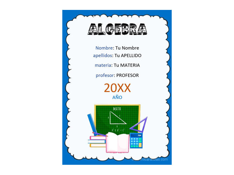 Caratula y Portada de Algebra en Word 4