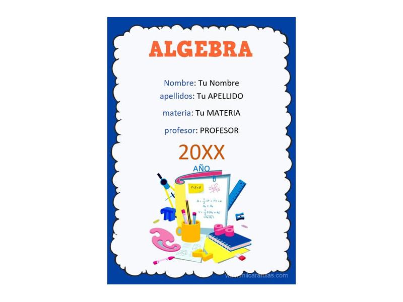 Caratula y Portada de Algebra en Word 5