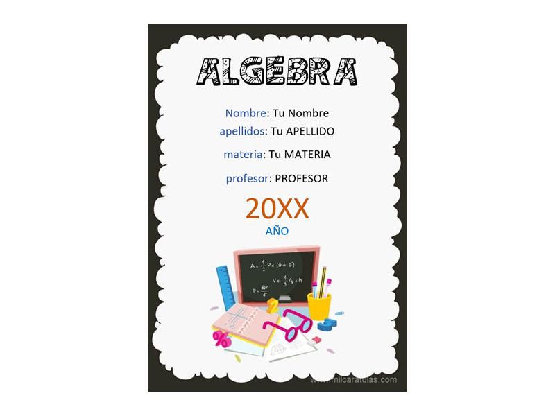 Caratula y Portada de Algebra en Word