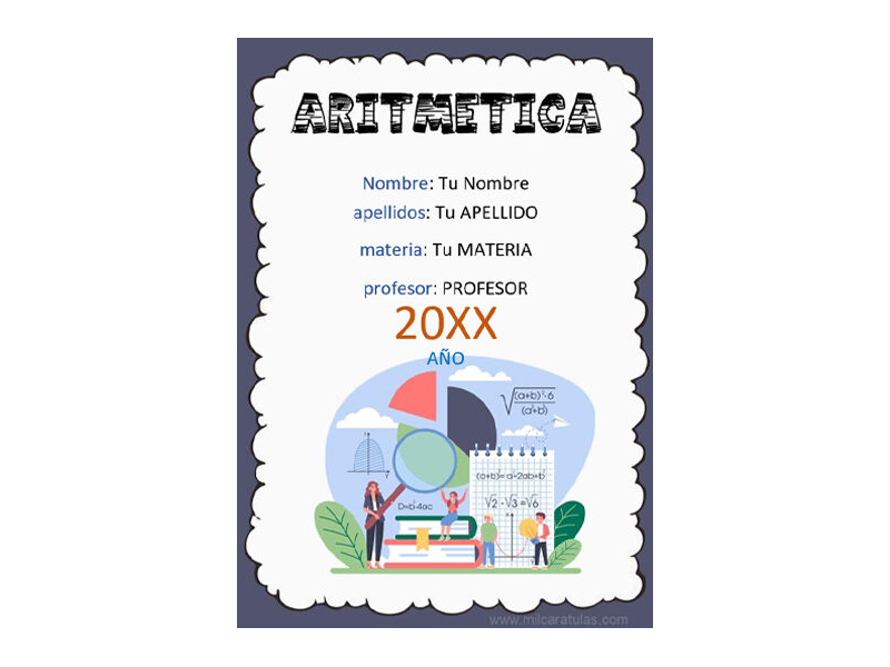 Caratula y Portada de Aritmética en Word 1