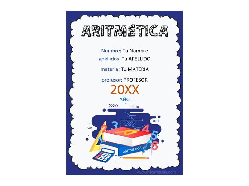 Caratula y Portada de Aritmética en Word 2
