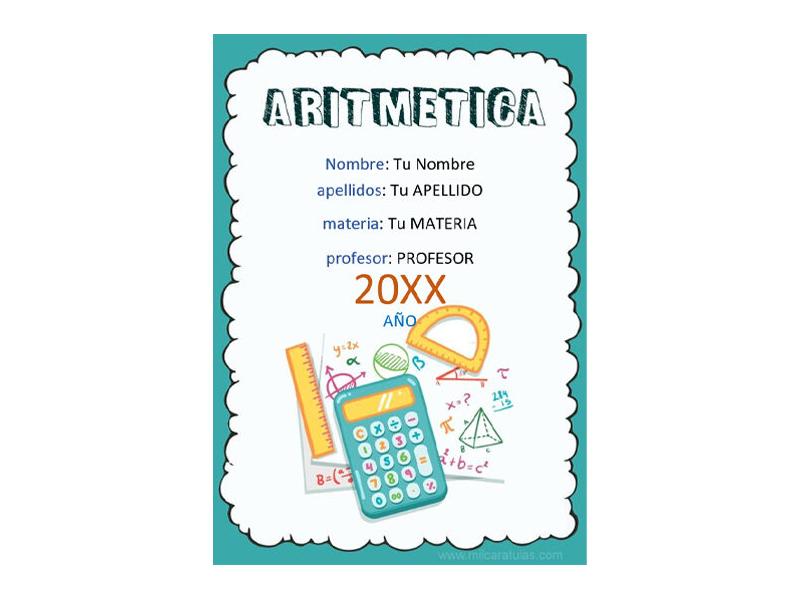 Caratula y Portada de Aritmética en Word 3