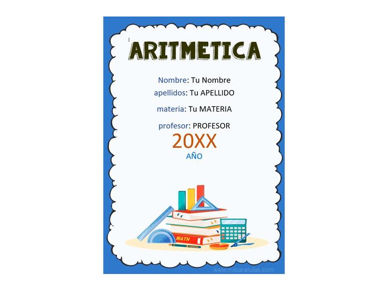 Caratula y Portada de Aritmética en Word 4