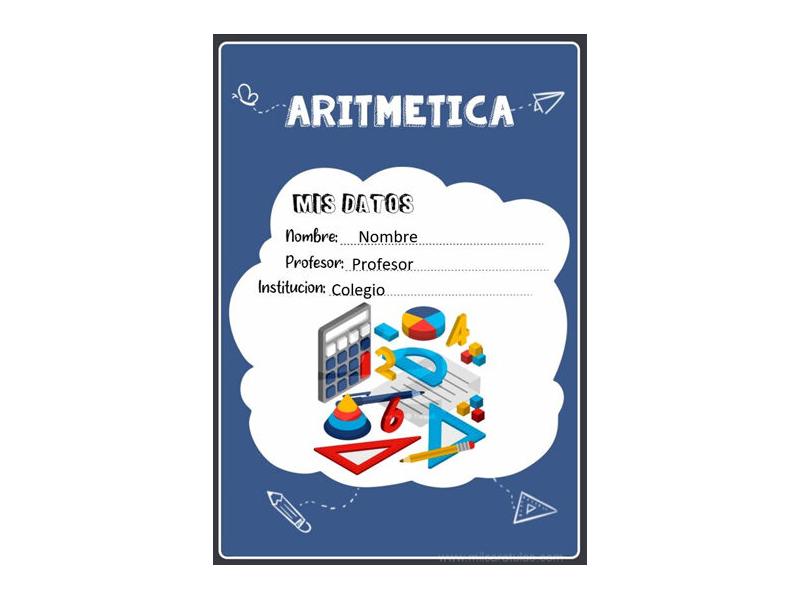 Caratula y Portada de Aritmética en Word 5