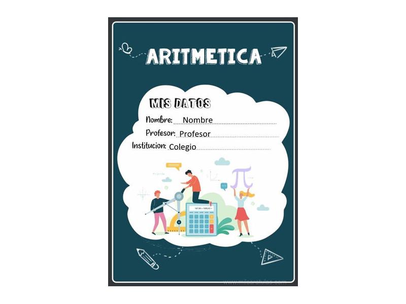 Caratula y Portada de Aritmética en Word 6