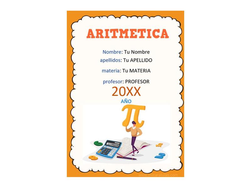 Caratula y Portada de Aritmética en Word