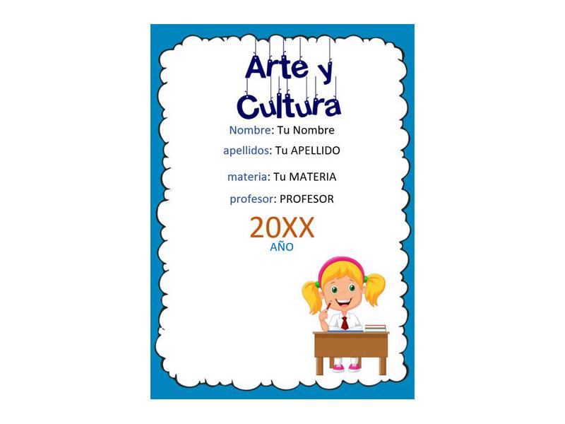 Caratula y Portada de Arte y Cultura en Word 1