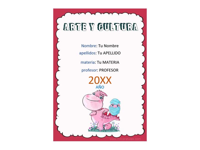 Caratula y Portada de Arte y Cultura en Word 4