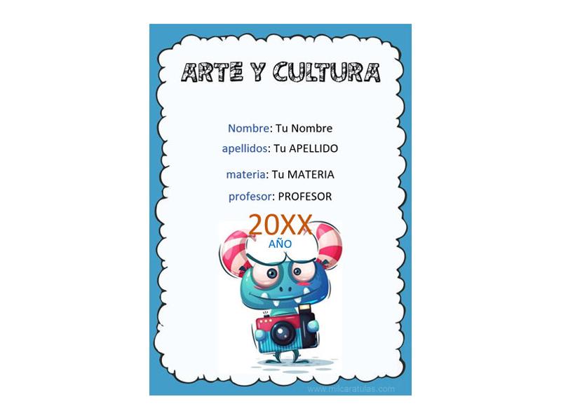 Caratula y Portada de Arte y Cultura en Word 7