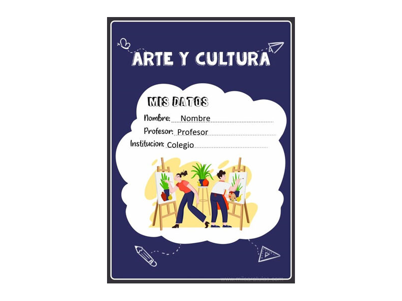 Caratula y Portada de Arte y Cultura en Word 8