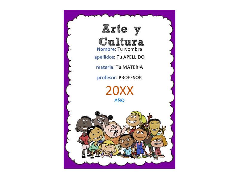 Caratula y Portada de Arte y Cultura en Word