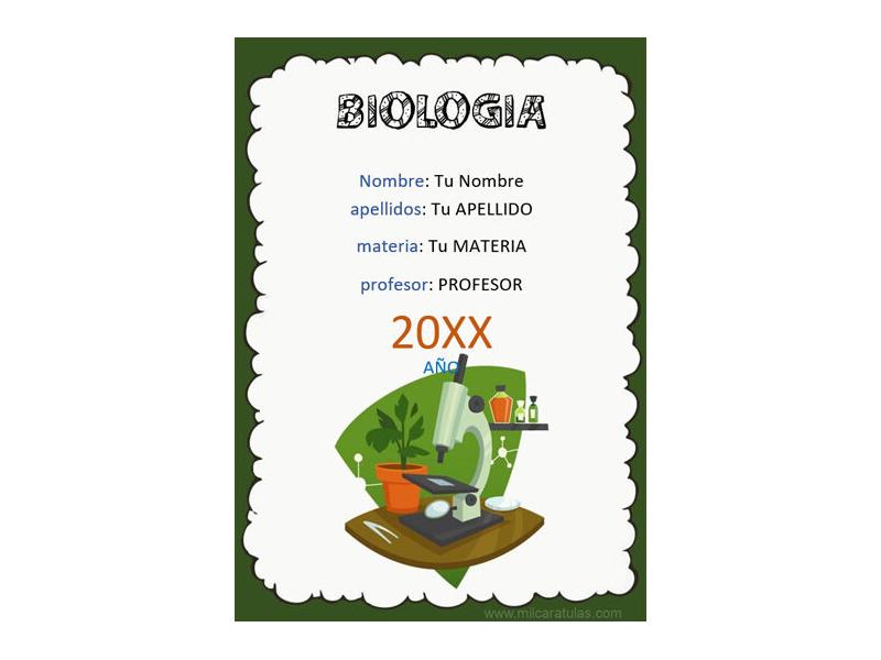 Caratula y Portada de Biología en Word 3