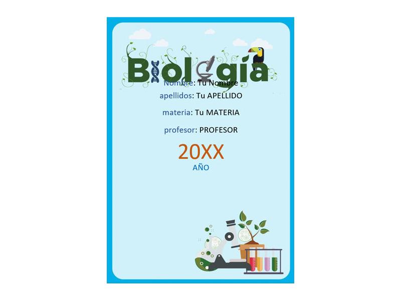 Caratula y Portada de Biología en Word 5
