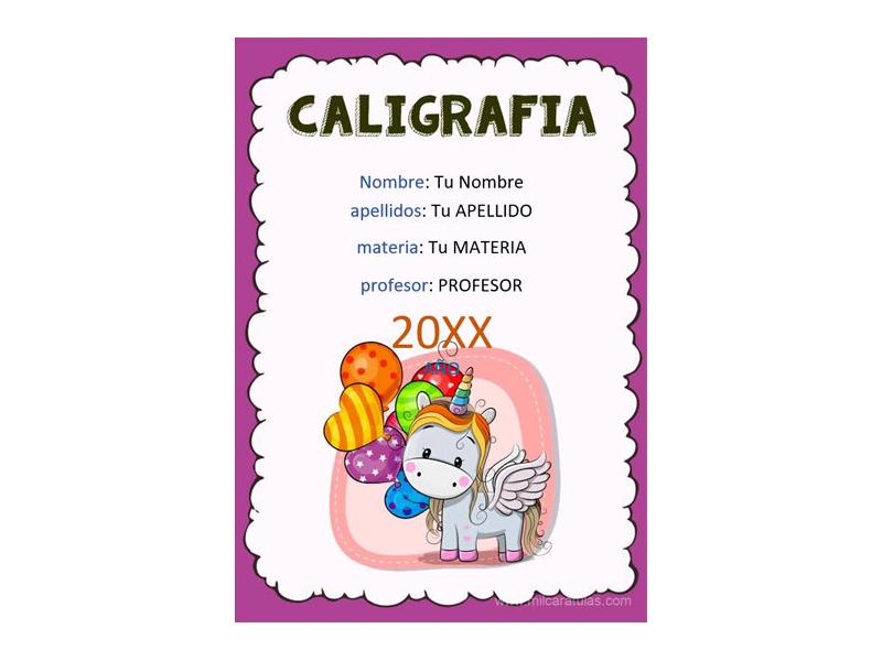 Caratula y Portada de Caligrafía en Word 1