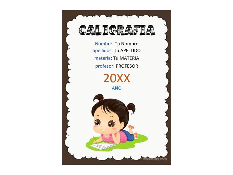 Caratula y Portada de Caligrafía en Word 5