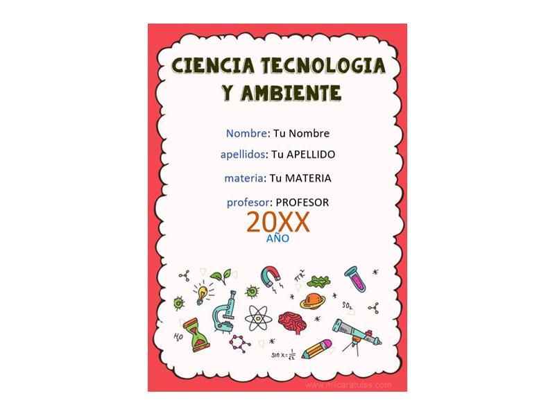 Caratula y Portada de Ciencia Tecnología y Ambiente en Word 3