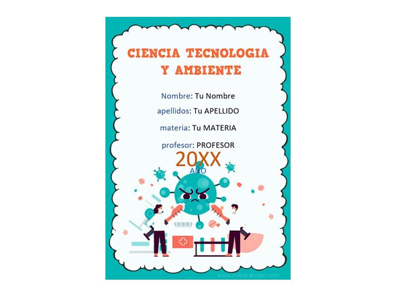 Caratula y Portada de Ciencia Tecnología y Ambiente en Word 4