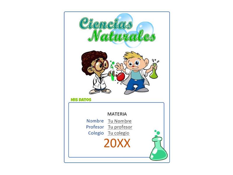 Caratula y Portada de Ciencias Naturales en Word 9