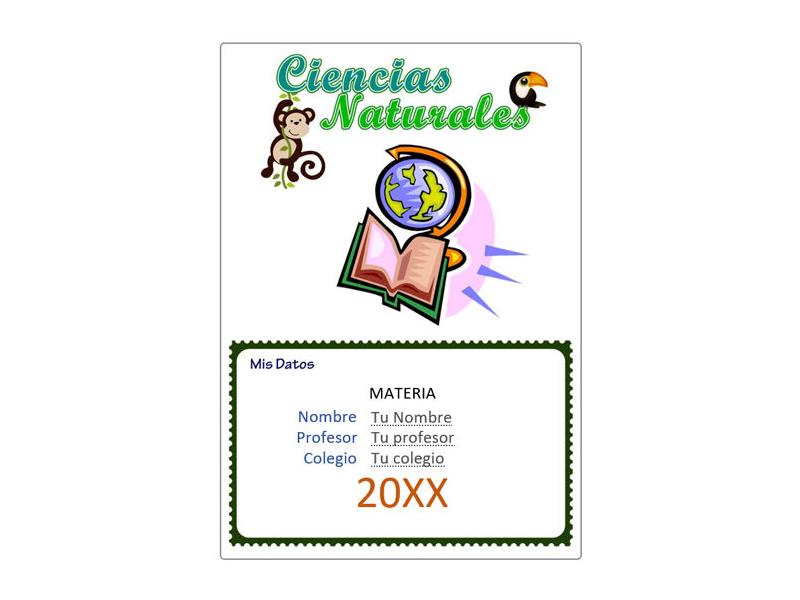 Caratula y Portada de Ciencias Naturales en Word 10