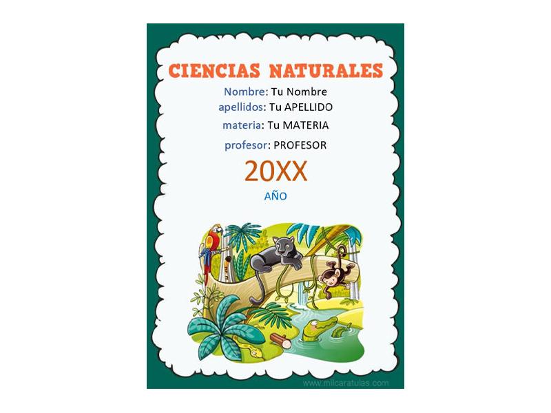Caratula y Portada de Ciencias Naturales en Word 5